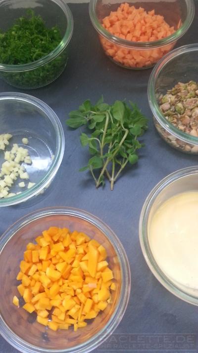 Kuerbis-Tortilla-Zutaten